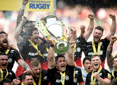 Saracens' Brad Barritt lifts the Aviva Premiership.