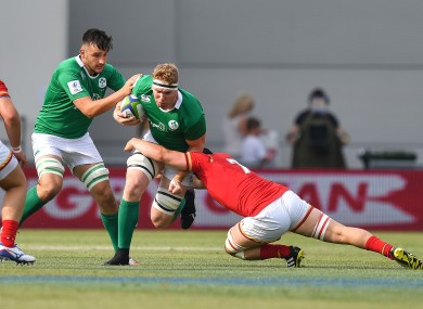 Cillian Gallagher makes a carry.