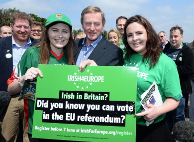 Taoiseach Enda Kelly with Kate Murphy (left) and Claire Tighe outside Irish TV GAA Grounds in South Ruislip, London last month.