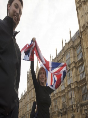 Leave supporters celebrate opposite the Houses of Parliament in London after the referendum.