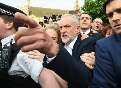 Labour leader Jeremy Corbyn arrives to speak in Parliament Square yesterday.