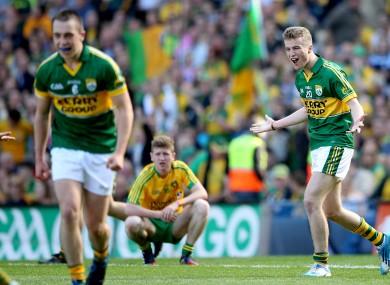Robert Wharton celebrates Kerry's 2014 All-Ireland minor final win.