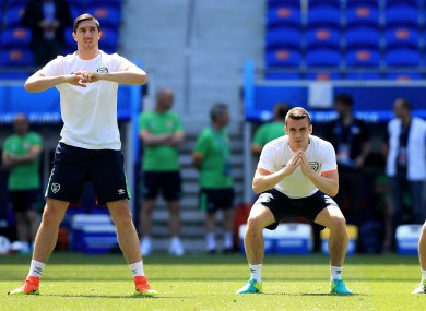Stephen Ward, Seamus Coleman and Robbie Keane during today's session.