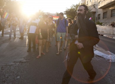 Yishai Schlissel shortly before stabbing people at Jerusalem Gay Pride in April 2015