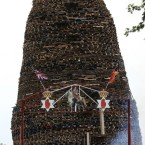A bonfire under construction in the Ballymacash area of Lisburn. <span class=