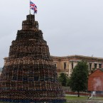 A completed bonfire in the Hopewell area in the Lower Shankill, Belfast. <span class=