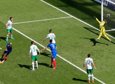 France's Antoine Griezmann scores his side's first goal of the game during the round of 16 match at the Stade de Lyon against Ireland.