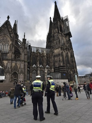 Police outside Cologne's cathedral in January