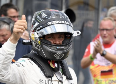 Thumbs up from Rosberg on home soil.