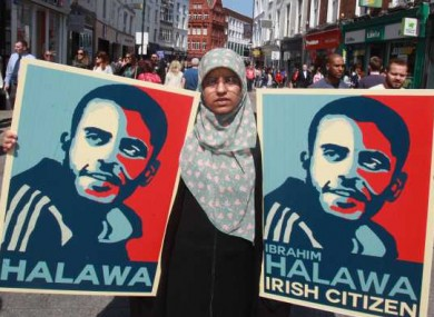Fatima, (his sister) on Grafton Street to highlight Ibrahim's 1,000th day in prison