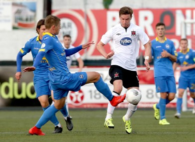 BATE's Kaspars Dubra challenging Ronan Finn of Dundalk during their second-leg meeting at Oriel Park last season.