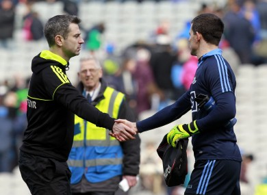 Donegal manager Rory Gallagher congratulates Dublin goalkeeper Stephen Cluxton after April's league semi-final.