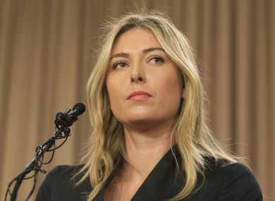 File photo showing tennis star Maria Sharapova speaking about her failed drug test at the Australia Open during a news conference in Los Angeles.