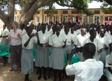 Sister Orla Treacy (far left), principal of the school, with some of her pupils in Rumbek, South Sudan.