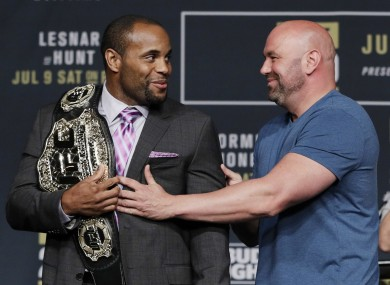 UFC light-heavyweight champion Daniel Cormier and UFC president Dana White at last night's UFC 200 press conference.