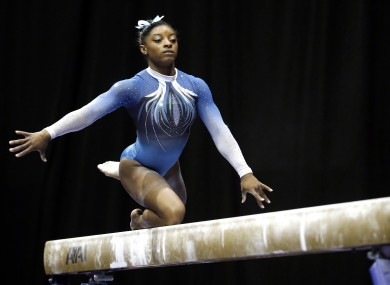 Simone Biles competes on the balance beam during the US women's gymnastics championships.