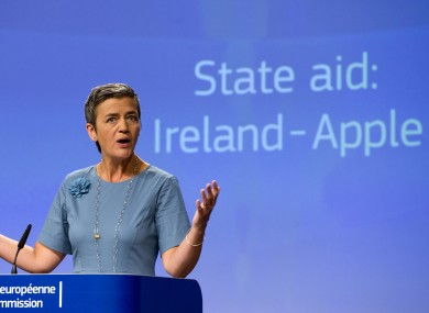 EU Competition Commissioner Margrethe Vestager speaking today.