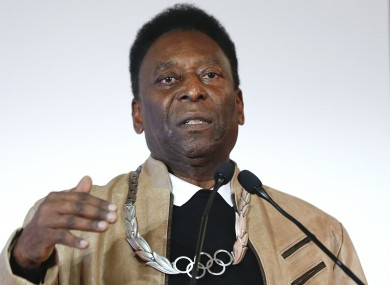 Brazilian soccer great Pele speaks after being awarded with the Olympic order at the Pele Museum in Santos, Brazil, last June.