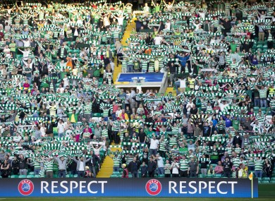 Celtic fans in the stands at Celtic Park during the recent Champions League Qualifying match against Hapoel Beer Sheva.