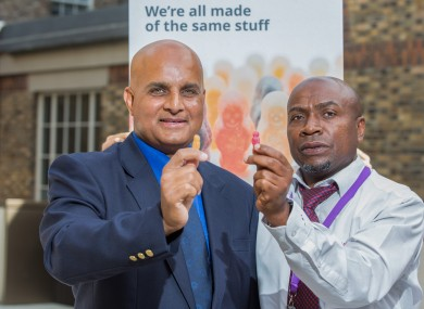 Shahbaz Rana (left) and Sammy Akorede of the Luas at the launch of the Immigrant Council's anti-racism campaign on public transport this weke.