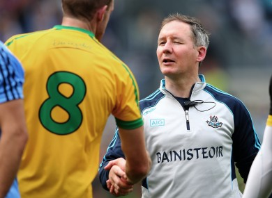 Jim Gavin shakes hands with Neil Gallagher after the 2014 All-Ireland semi-final