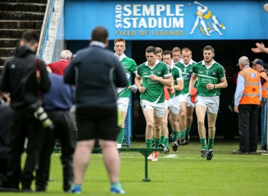 The Limerick footballers before their qualifier defeat in July against Cork.