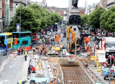 Luas works on Dublin's O'Connell Street. The biggest rises in jobs were in construction and administration.