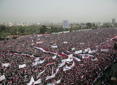 Hundreds of thousands of Yemenis march on 20 August in support of a new combined governing council in the rebel capital of Sanaa - a government not recognised by Aden or the UN.