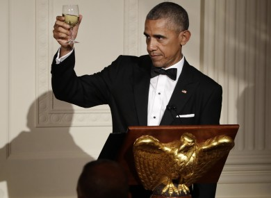 President Barack Obama raises a toast at  a state dinner in the White House this week.