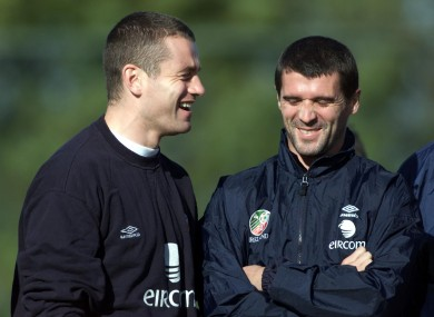 Given and Keane sharing a joke back in 2001.