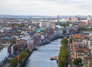 The Liffey in Dublin city centre, with Wellington Quay in the left foreground.