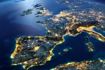 Western Europe and north Africa at night.