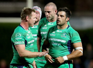 Tom McCartney and Ronan Loughney converse during Connacht's pre-season fixture away to montpellier