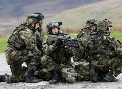File photo of the Irish Defence forces taking part in combat training exercises in 2014.