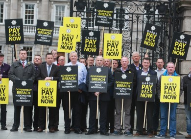 Members of the Garda Representative Association protesting outside Leinster House in June.