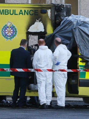 The scene at Naas General Hospital in Co KIldare after a patient died and a medic was injured after an ambulance burst into flames.