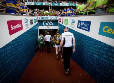 Brian Cody leaves the Croke Park pitch after the game.