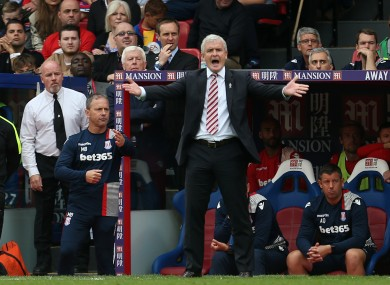Stoke City manager Mark Hughes on the touchline during the Premier League match at Selhurst Park.