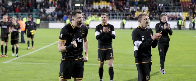 Brian Gartland and David McMillan celebrate the victory.