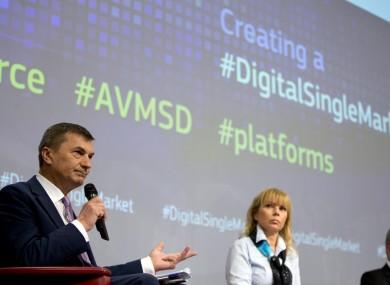 European Commission Commissioner for the Digital Single Market Andrus Ansip (left).