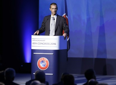 Head of the Slovenian Soccer Federation Aleksander Ceferin speaks during the vote for the new Uefa president.