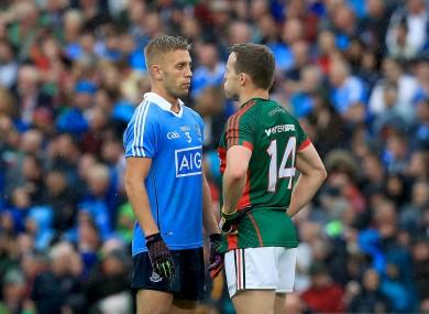 Dublin's Jonny Cooper with Mayo's Andy Moran
