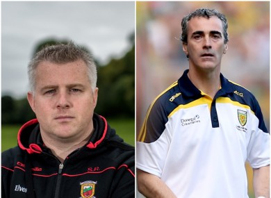 Mayo boss Stephen Rochford and ex-Donegal manager Jim McGuinness.