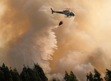 File photo of  forest fire in Portugal last month.