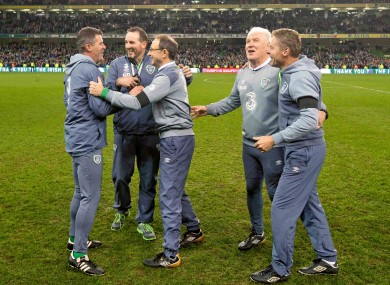 Ireland's management team can't contain their delight after coming through the Euro 2016 play-off with Bosnia-Herzegovina.