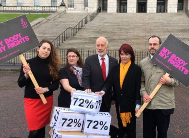 L to R: Adrianne Peltz of Amnesty International, Kellie Armstrong of the Alliance Party, David Ford of the Alliance Party, Claire Bailey of the Green Party and Patrick Corrigan of Amnesty International at Parliament Buildings in Belfast.