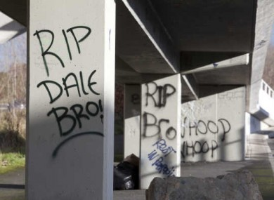 Graffiti commemorating Dale Creighton at the footbridge where he was assaulted in Tallaght