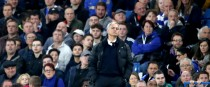 Manchester United manager Jose Mourinho dejected on the touchline during the Premier League match at Stamford Bridge.
