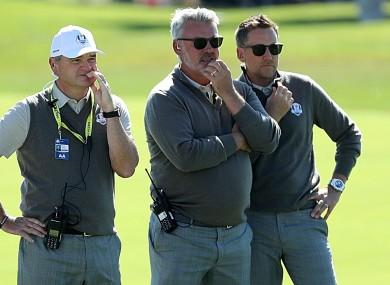 Europe's captain Darren Clarke (centre) with Paul Lawrie (left) and Ian Poulter (right).