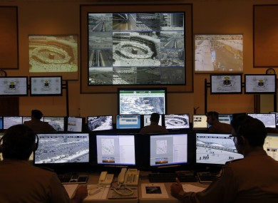 (File photo) Saudi police officers monitor screens connected to cameras to monitor crowds of pilgrims at holy places in Mina and at the Grand Mosque in Mecca, Saudi Arabia.